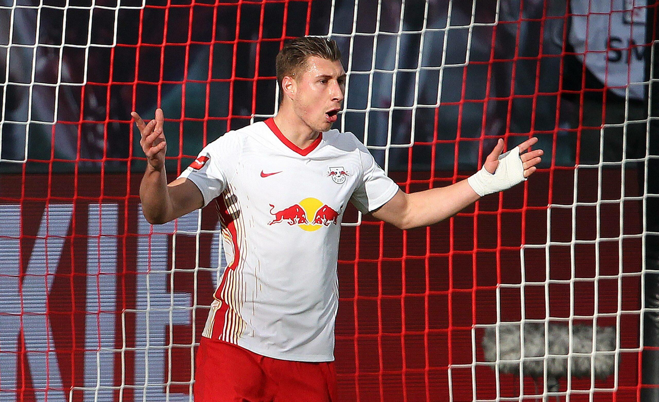 Willi Orban (RB Leipzig) bejubelt seinen Treffer gegen Frankfurt