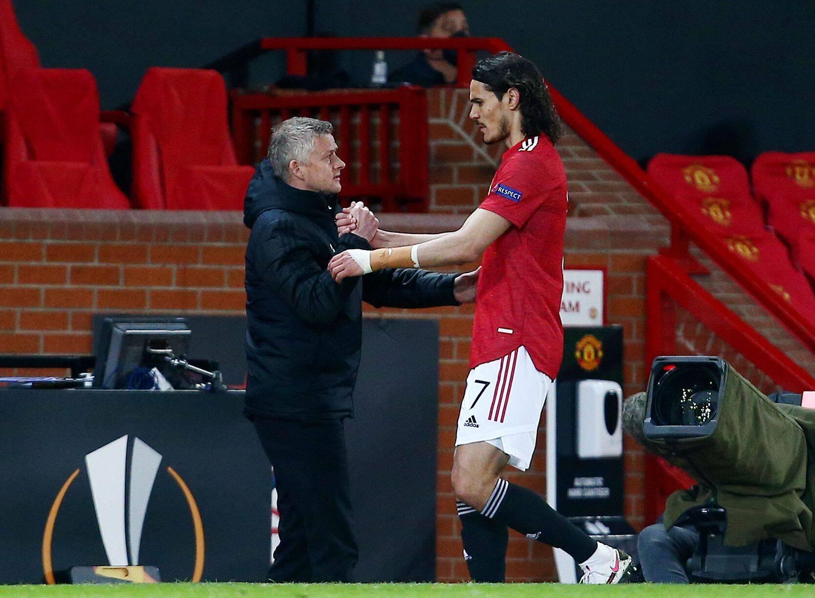 Edinson Cavani, Ole Gunnar Solskjaer (beide Manchester United) mit Shake Hands