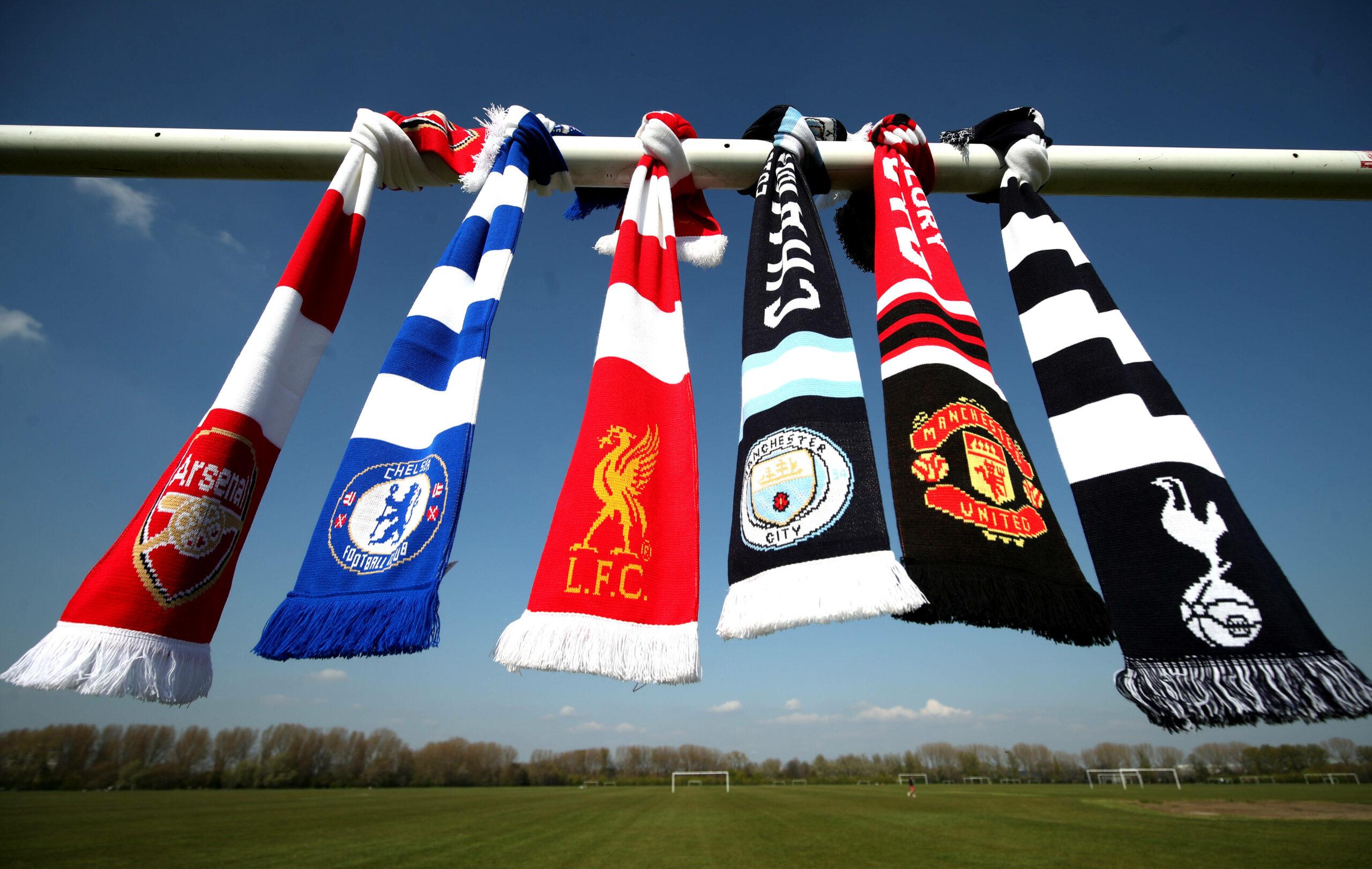 Englische Vereine der Super League (Arsenal, Chelsea, Liverpool, ManCity, ManUtd, Tottenham)