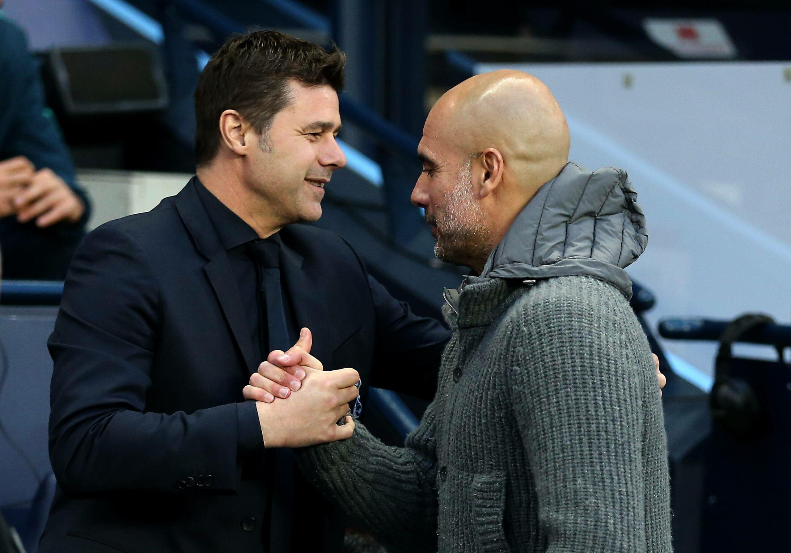 Pochettino (Tottenham Hotspur) Pep Guardiola (ManCity) mit Shakehands