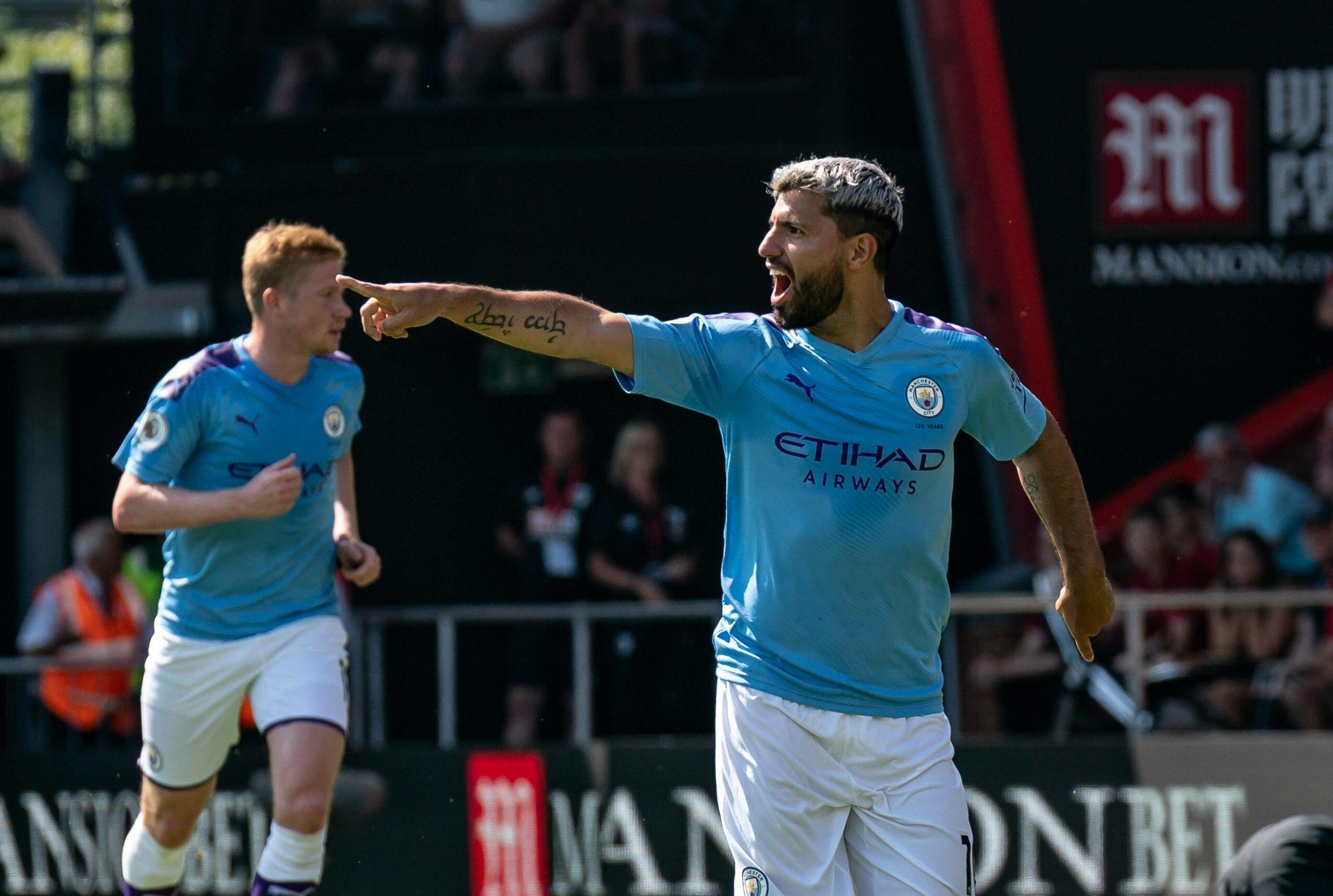 Sergio Agüero (Man City) bejubelt seinen Treffer
