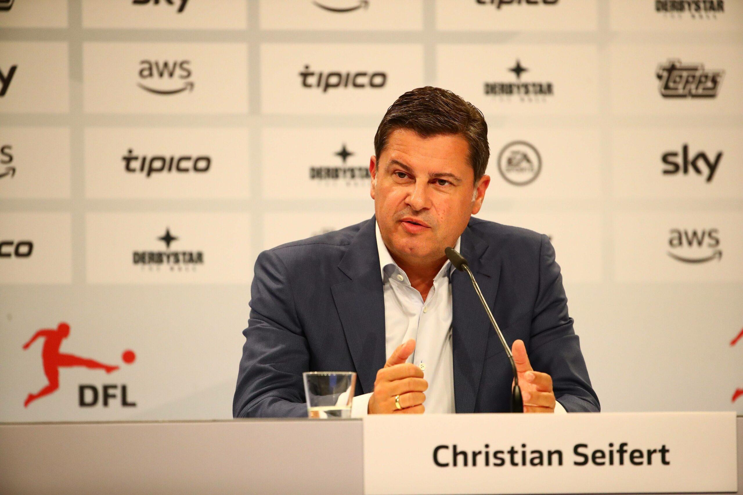 Christian Seifert (DFL) auf der Pressekonferenz