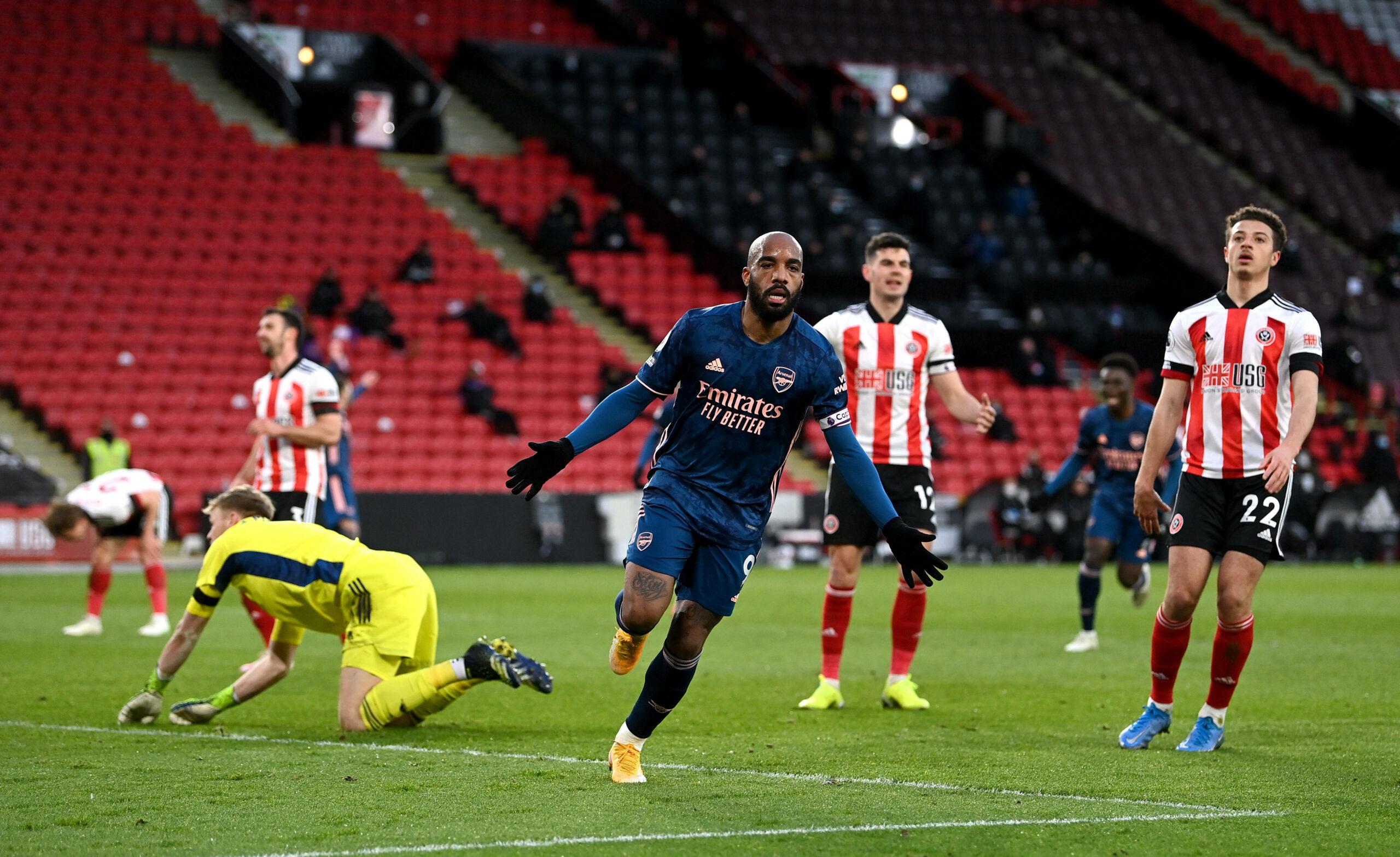 Alexandre Lacazette brachte Arsenal bei Sheffield United in Führung.