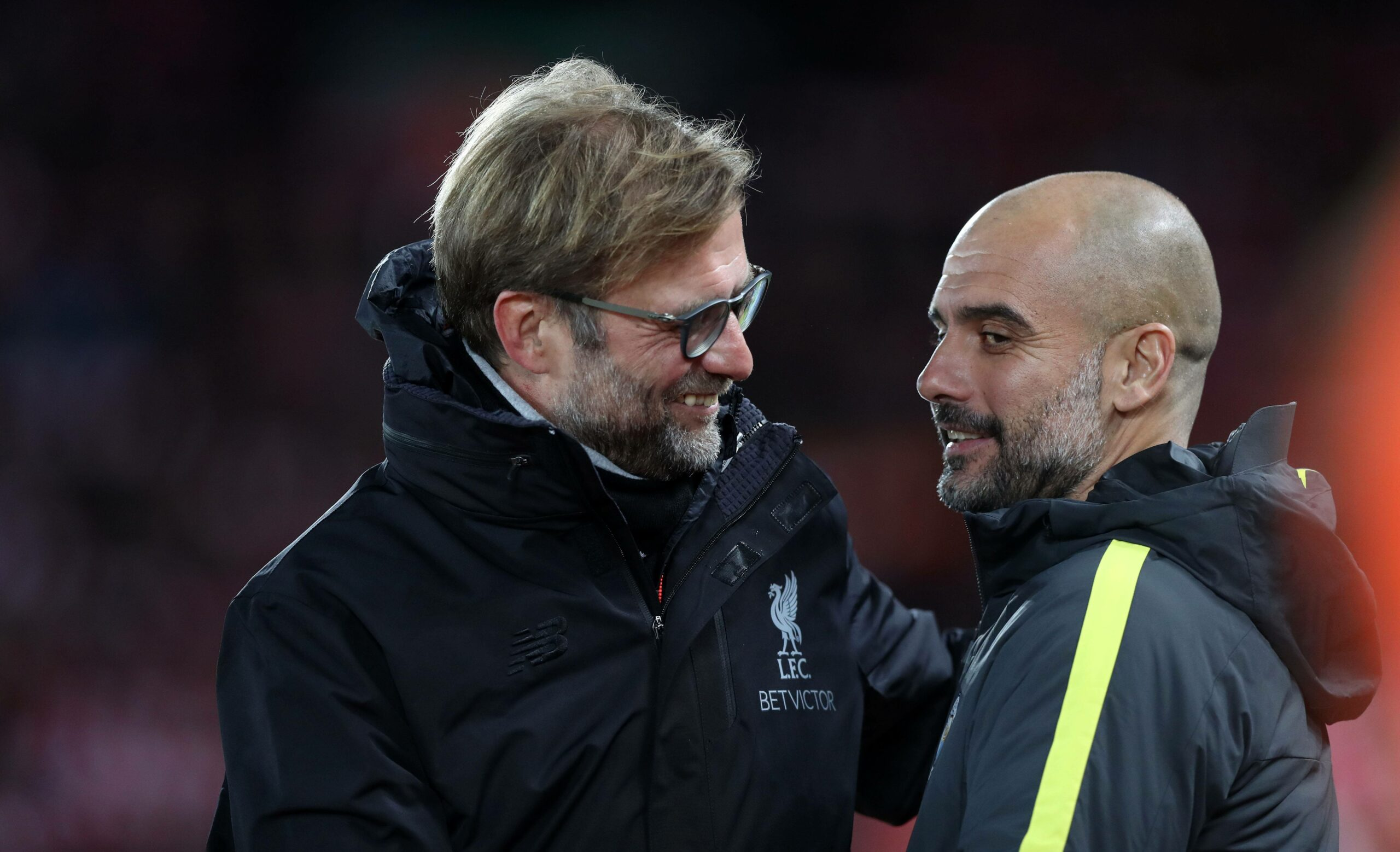 Klopp (Liverpool), Guardiola (Manchester City) mit Shake-Hands