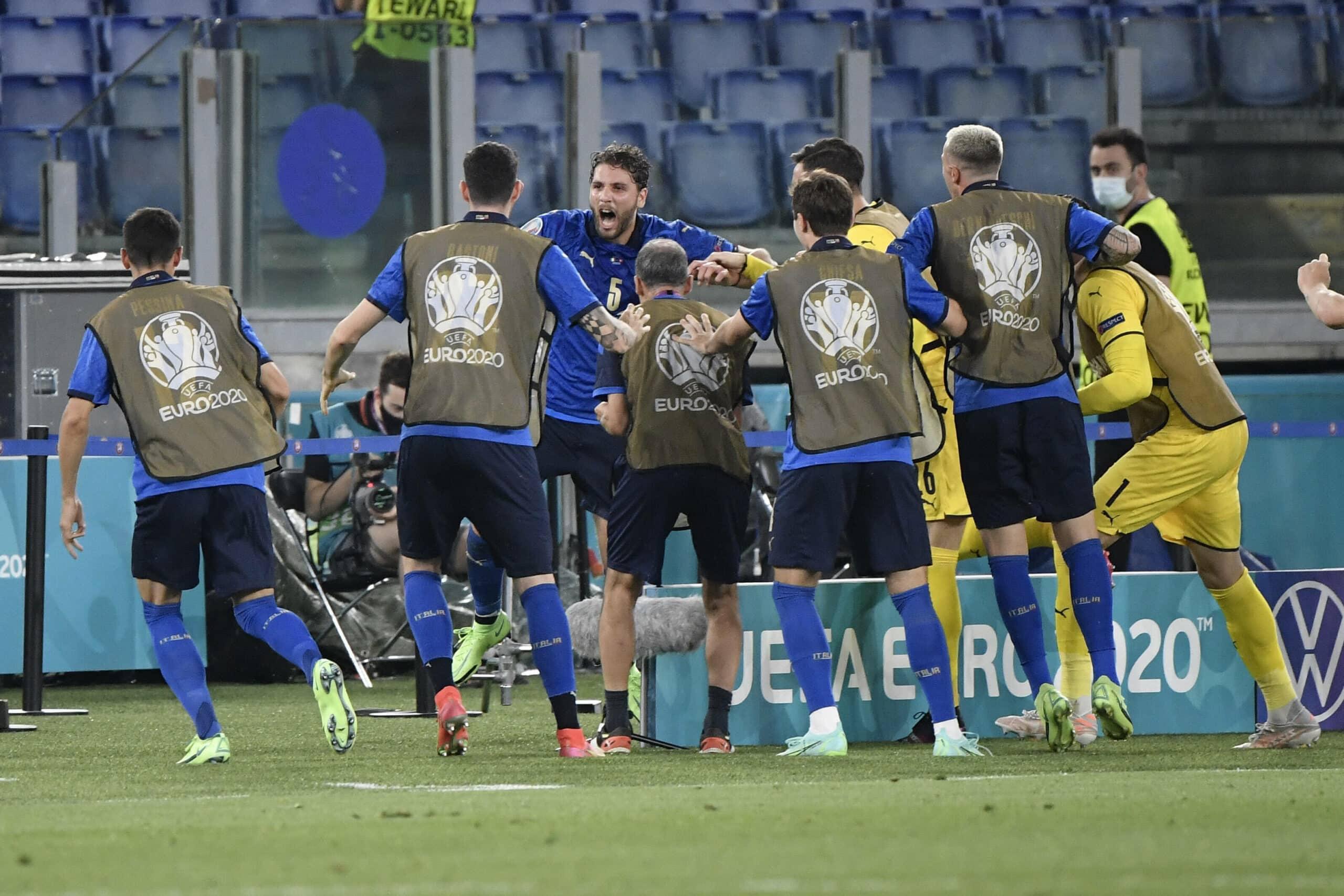Italien Team feiert Treffer