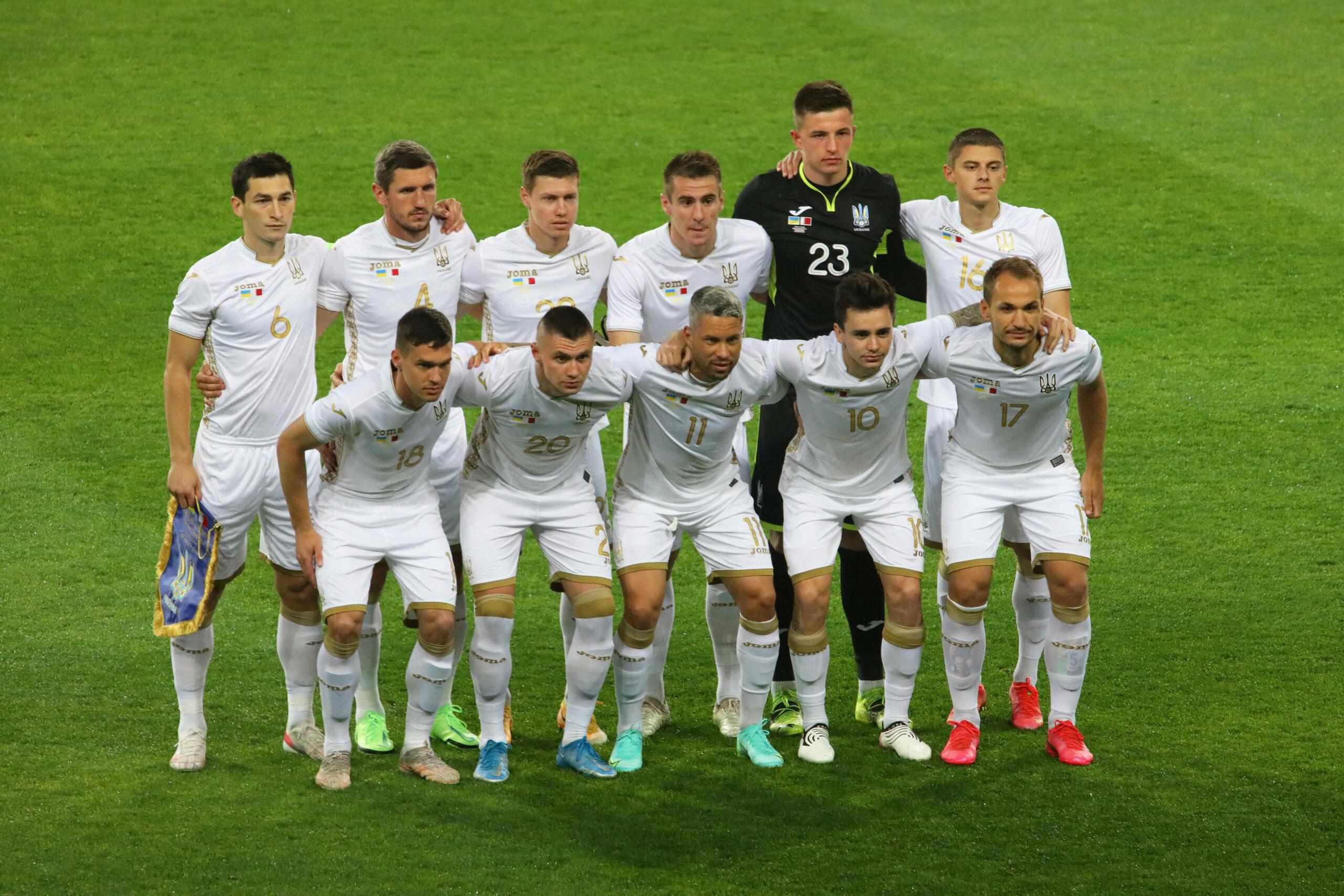 Die ukrainische Nationalmannschaft. Das alte Trikot sorgte noch nicht für Empörung.