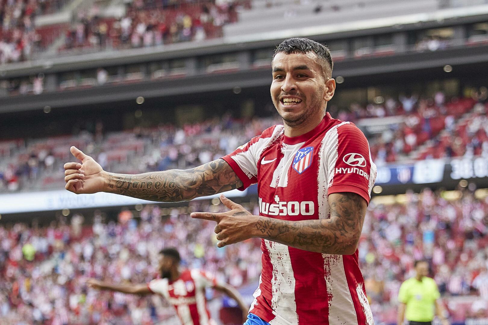 Ángel Correa bejubelt seinen Treffer zum 1:0 für Atletico Madrid im Duell mit dem FC Elche.