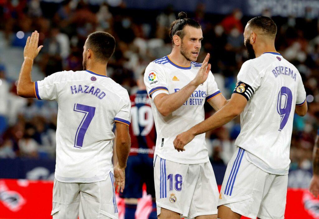 Eden Hazard, Gareth Bale - Torschütze zum 0:1 - sowie Karim Benzema bildeten den Angriff von Real Madrid im Gastspiel bei UD Levante.