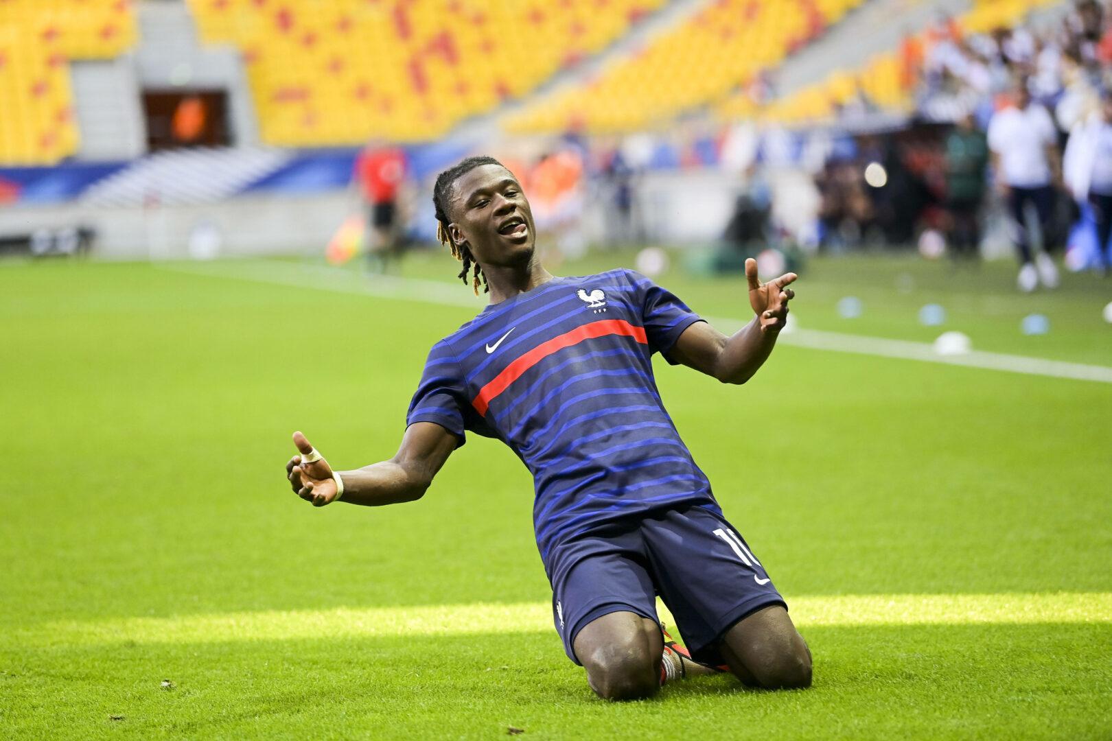 Eduardo Camavinga bejubelt seinen Treffer zum 2:0 für die französische U21 im Heimspiel gegen Nordmazedonien.