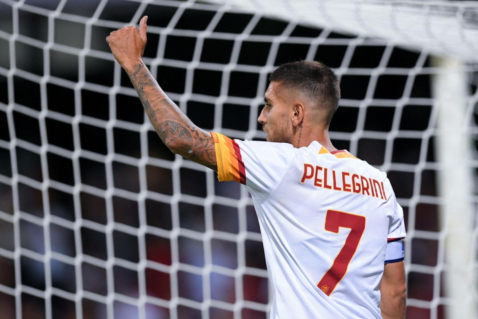Lorenzo Pellegrini bejubelt seinen Treffer für die AS Roma in Salernitana.
