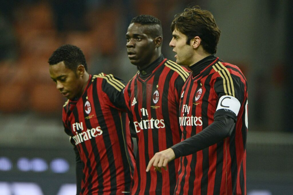 Robinho Mario Balotelli Kaká (alle Milan) jubeln gemeinsam in Champions League Duell