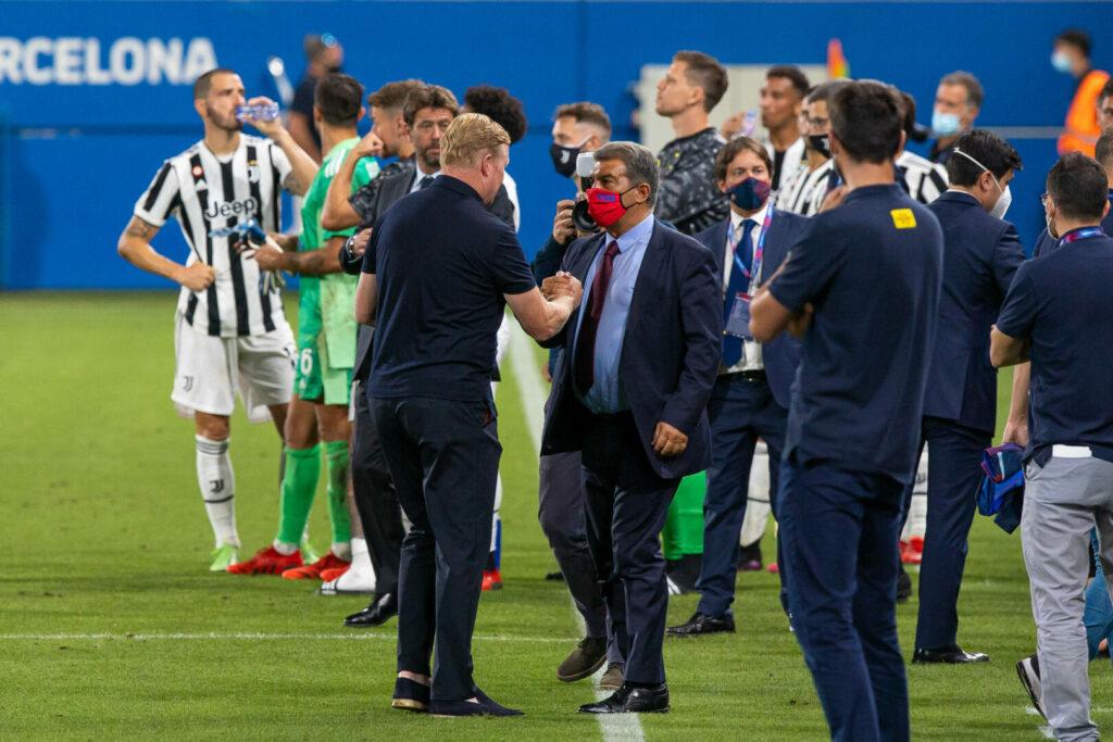 Laporta Koeman (Barca) mit Shake-Hands