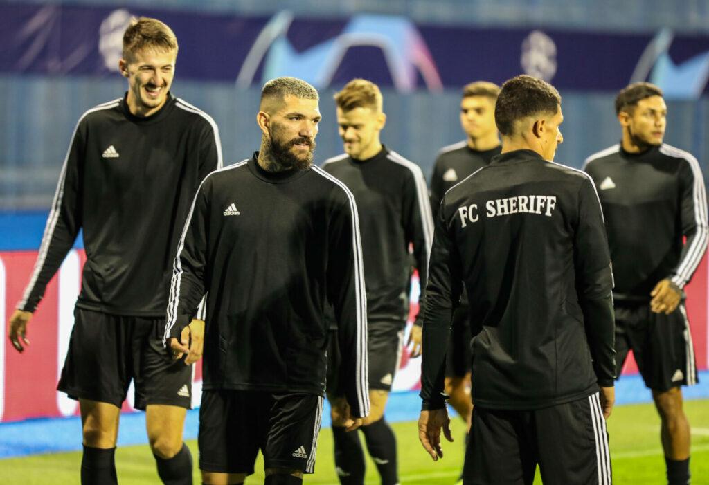 Die Mannschaft von Sheriff vor dem Champions-League-Qualifikationsspiel gegen Dinamo Zagreb