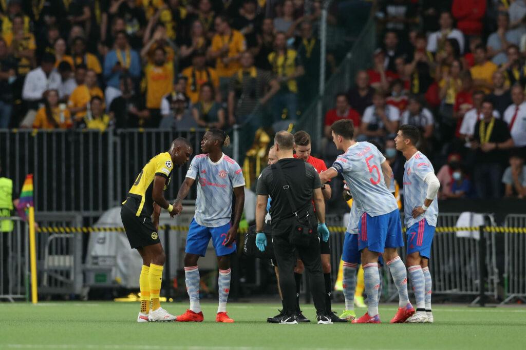 Im Spiel Young Boys gegen Manchester United wurde Wan-Bissaka des Feldes verwiesen