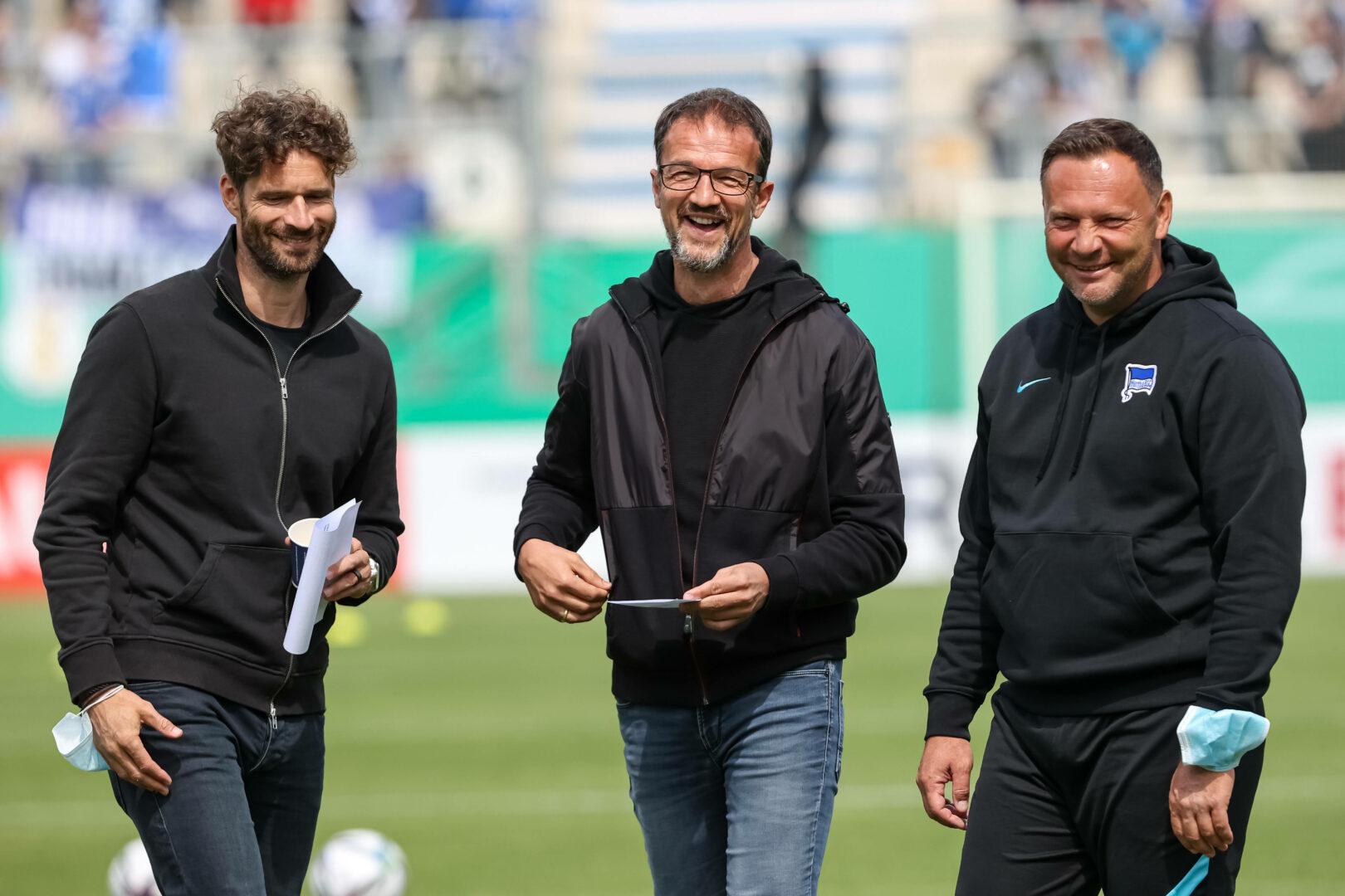 Arne Friedrich. Fredi Bobic und Pal Dardai vor dem Pokalspiel von Hertha BSC in Meppen.