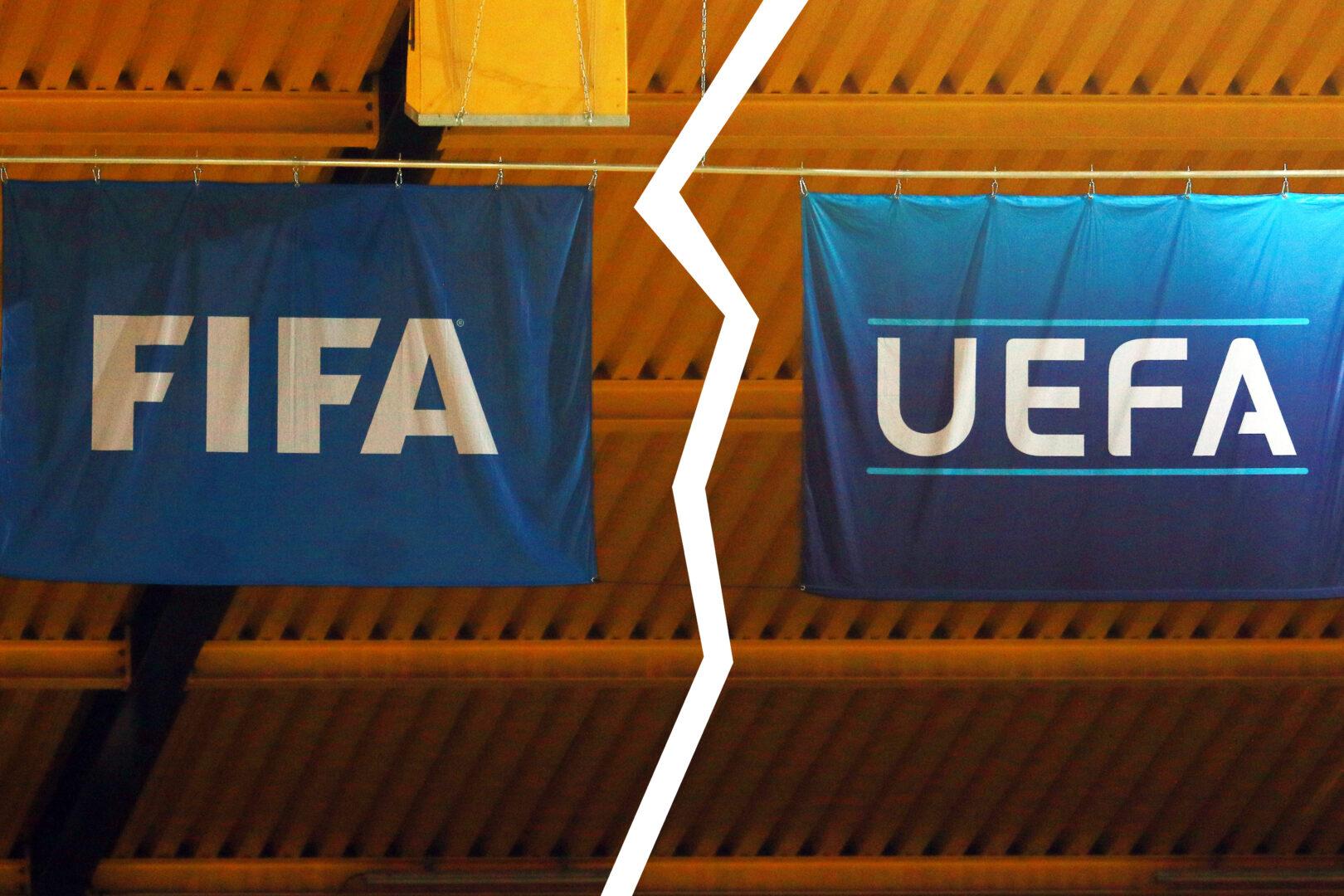 FIFA UEFA Logo Fahne Getrennt