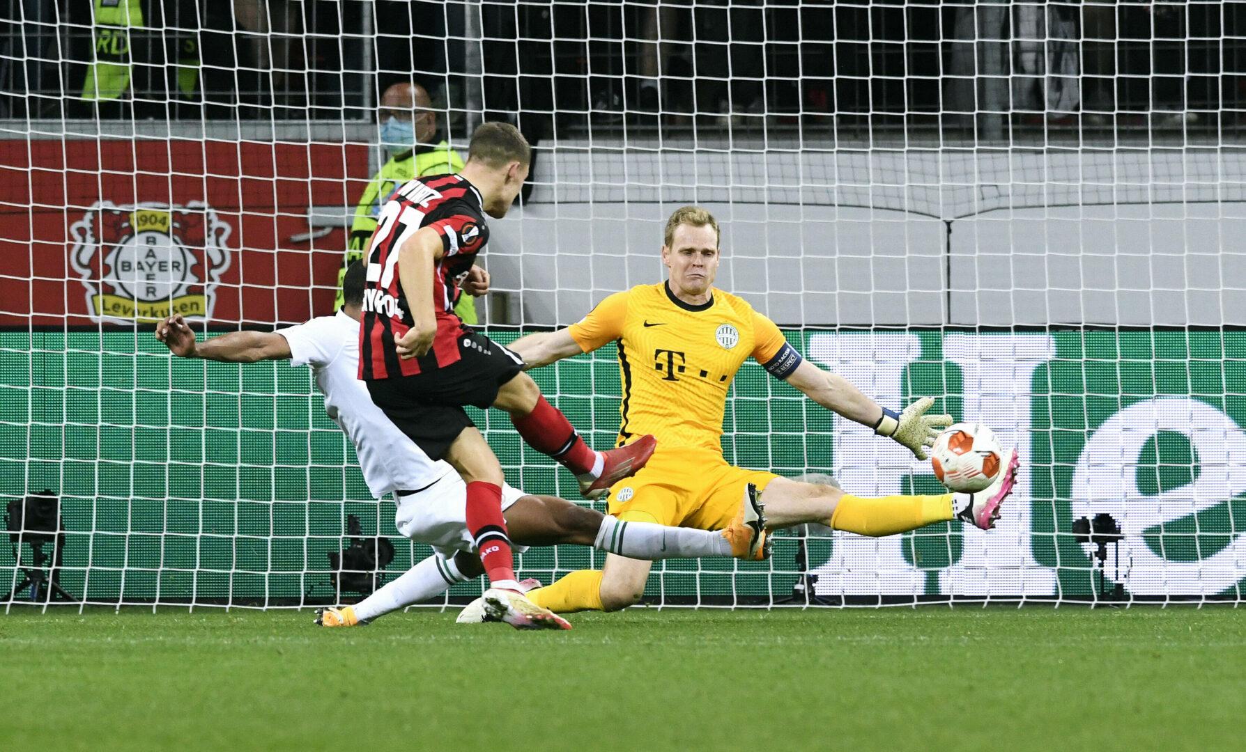 Florian Wirtz mit dem Siegtreffer für Bayer Leverkusen gegen Ferencvaros
