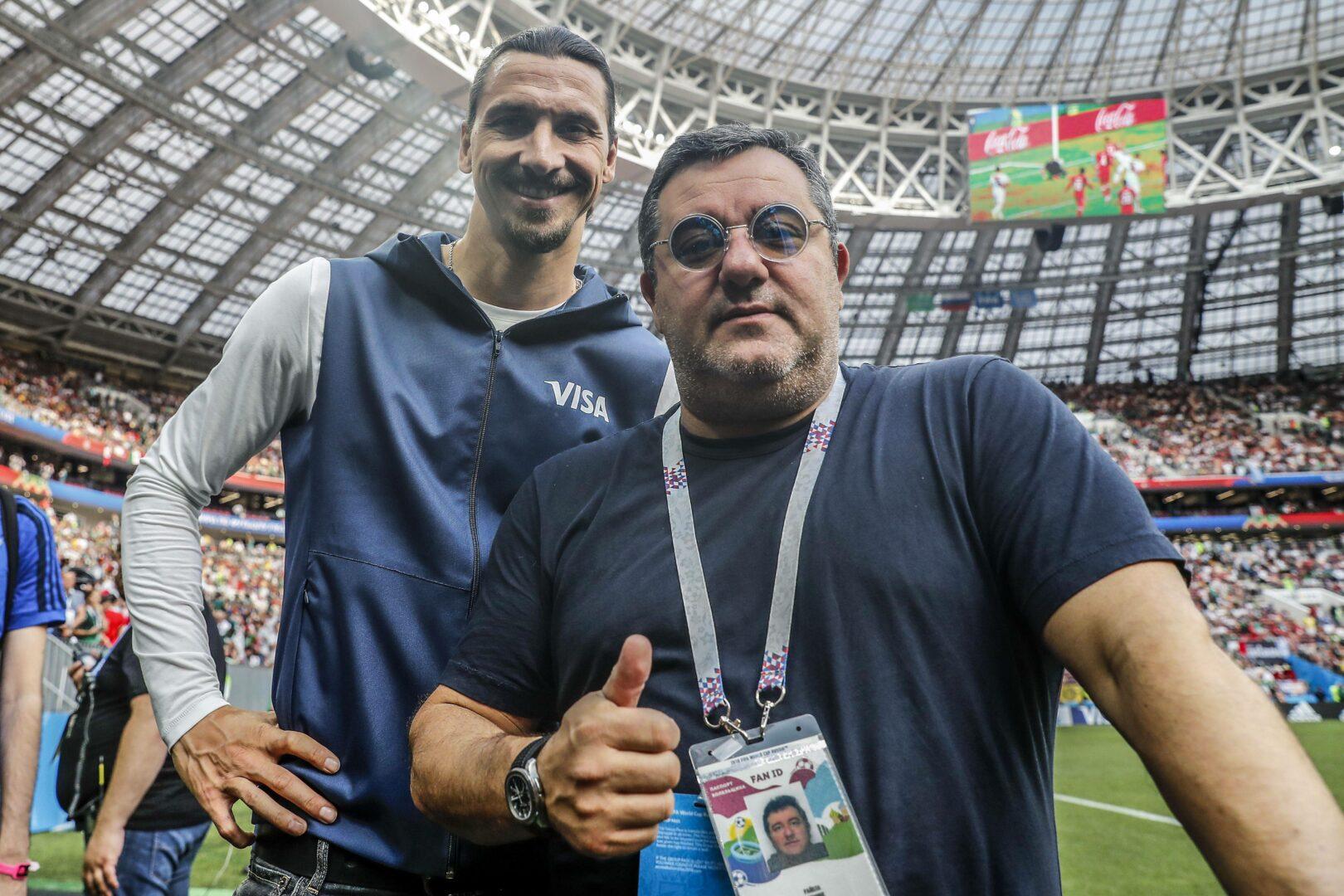 Raiola Ibrahimovic posieren