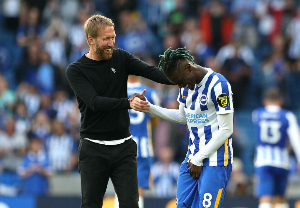 Brighton-Trainer Graham Potter und Yves Bissouma
