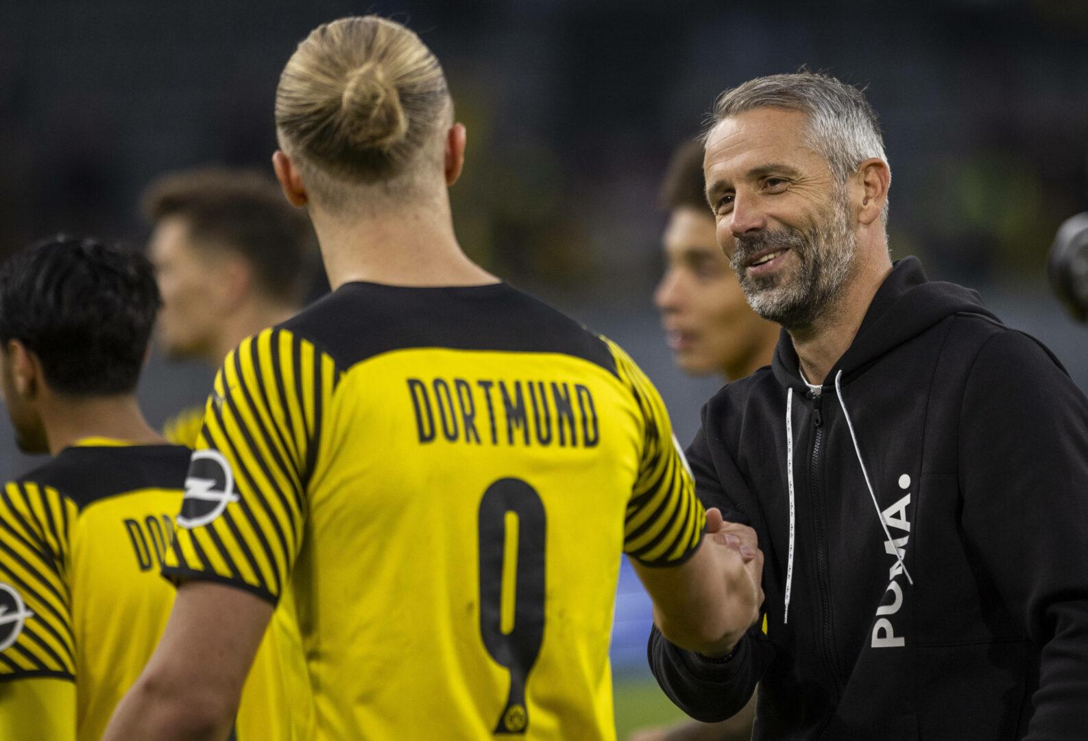 BVB-Trainer Marco Rose und Erling Haaland