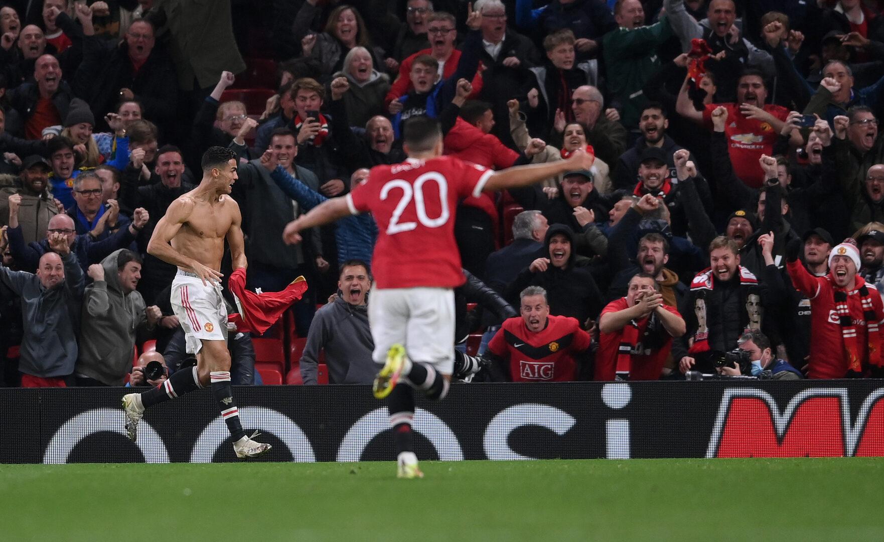 Cristiano Ronaldo bejubelt seinen Siegtreffer für ManUtd in der Champions League gegen Villarreal