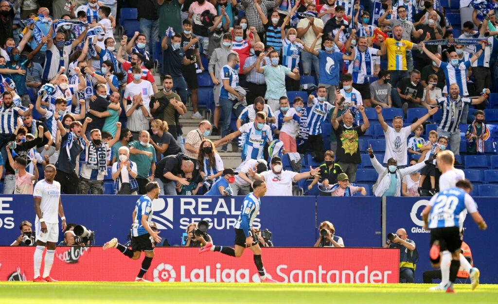 Espanyol Barcelona Teamjubel nach Treffer gegen Real Madrid