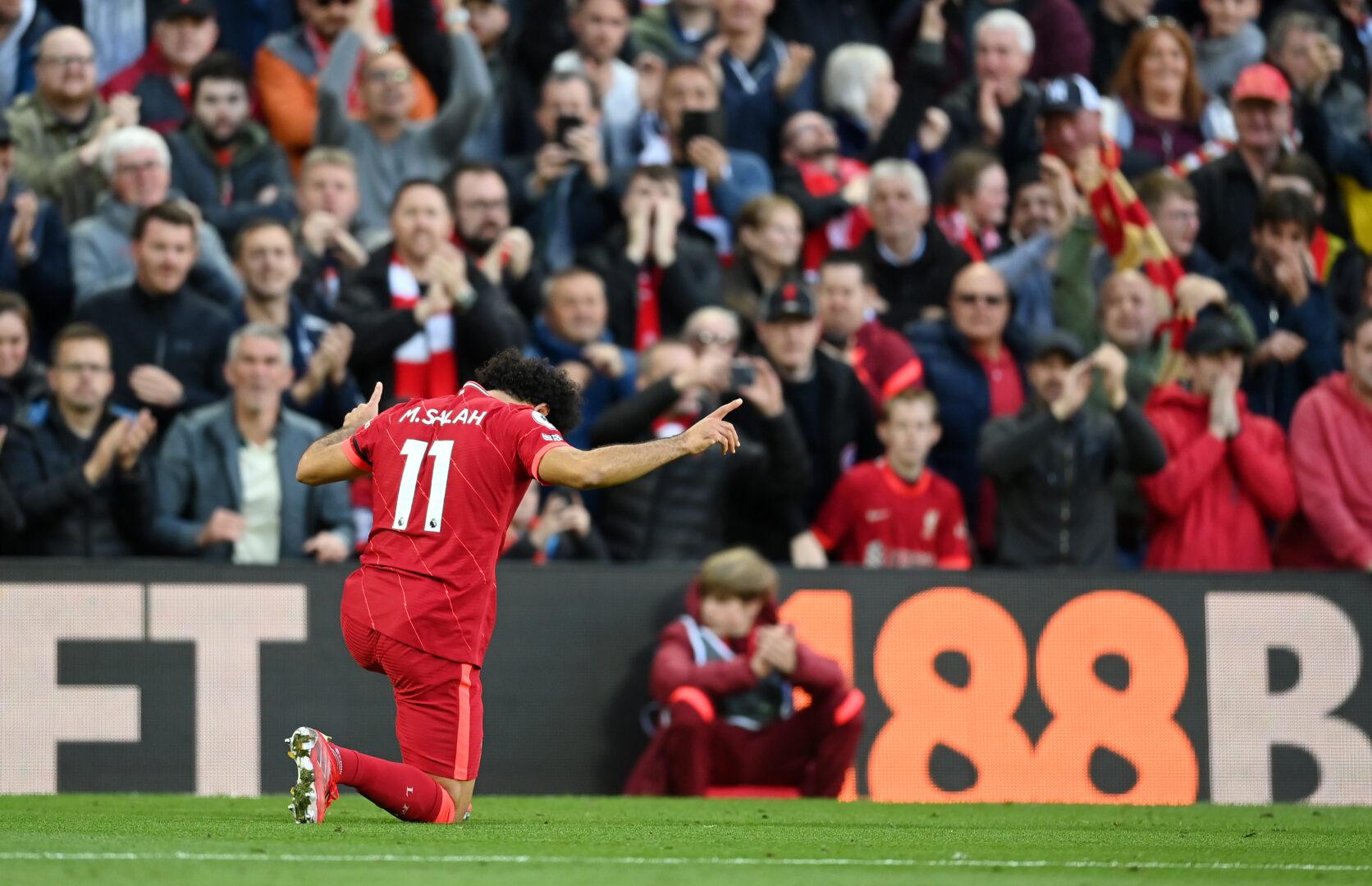 Mo Salah feiert sein Tor zum 2:1 des FC Liverpool über Manchester City