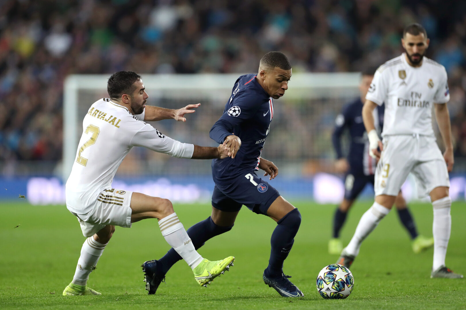 Kylian Mbappé im Duell mit Real Madrid.
