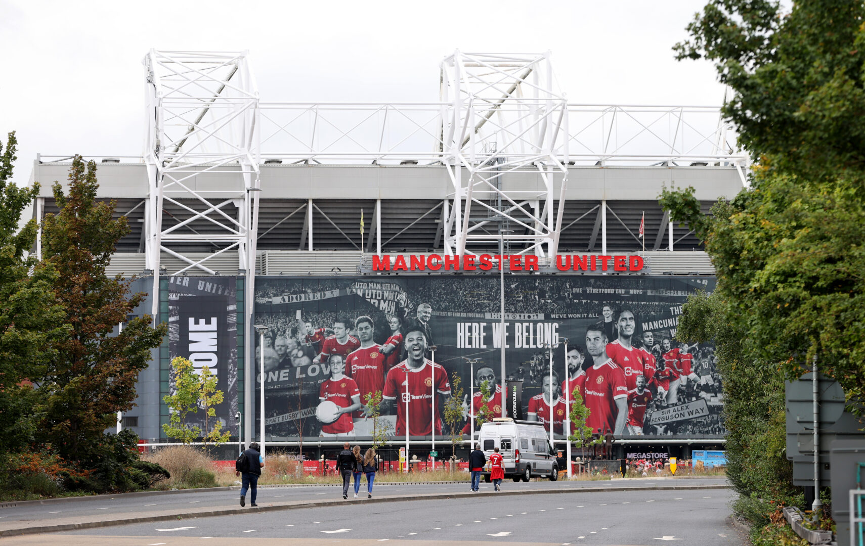 Das Old Trafford, Stadion von Manchester United, in der Außenansicht