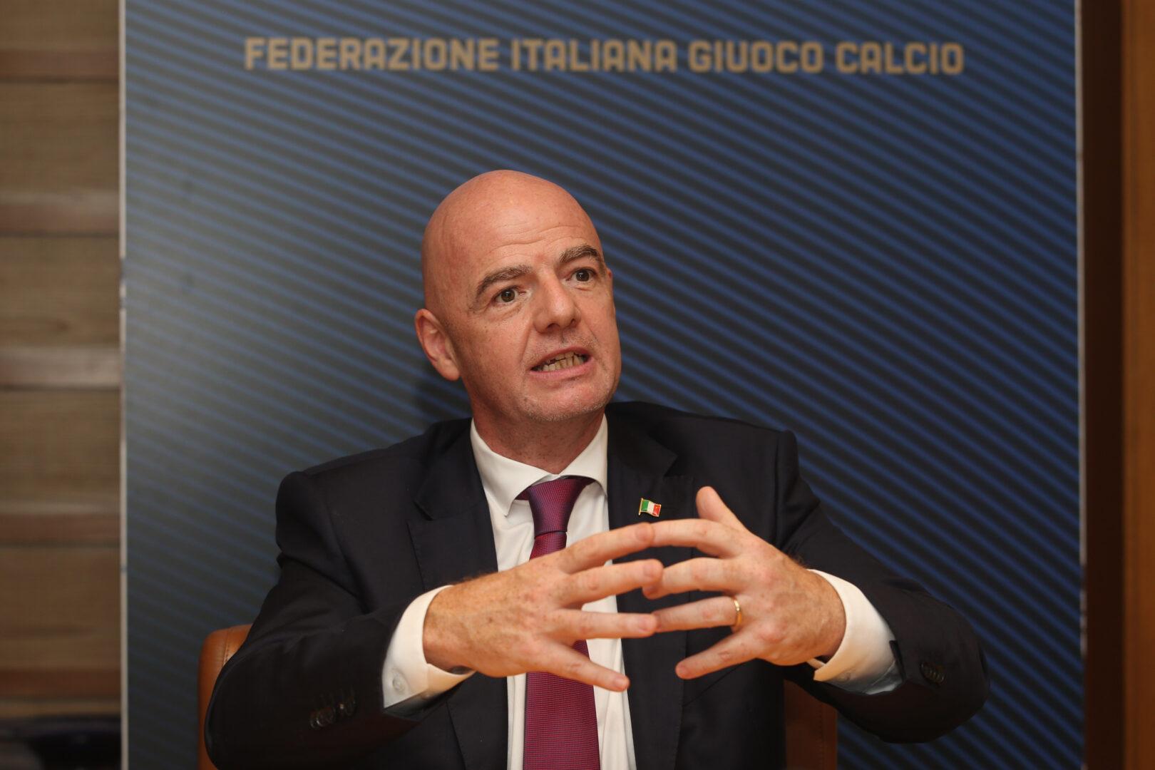 FIFA-Präsident Gianni Infantino auf einer Pressekonferenz.
